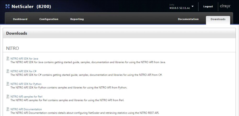 NetScaler API SDK Downloads